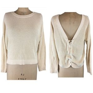 Feel the Piece Cream Lace up Back Sweater